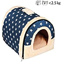 enko Luxury Cozy de 2 en 1 Pet House and sofá, High Quality Indoor Portable Foldable Dog Room/Cat Bed. Prepare a Warm House for your Pet.