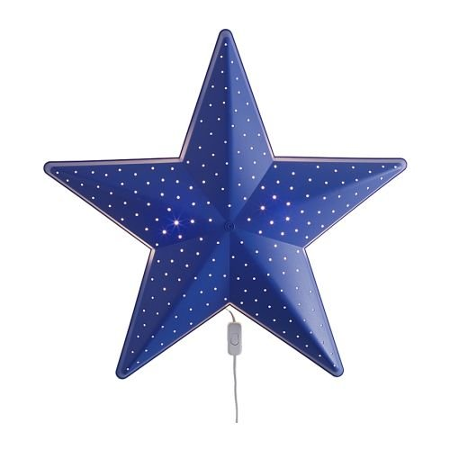 Ikea SMILA Stjärna - Wandleuchte, blau - 28 cm