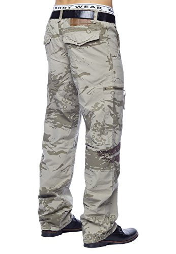 Hommes Pantalon Cargo Crazy Peppers ID1446 Loose Fit Beige