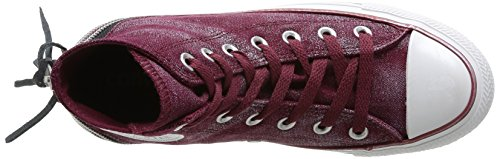 Converse Chuck Taylor All Star Femme Sparkle Wash Tri Zip Hi 382520 Damen Sneaker Rot (18 BORDEAUX)
