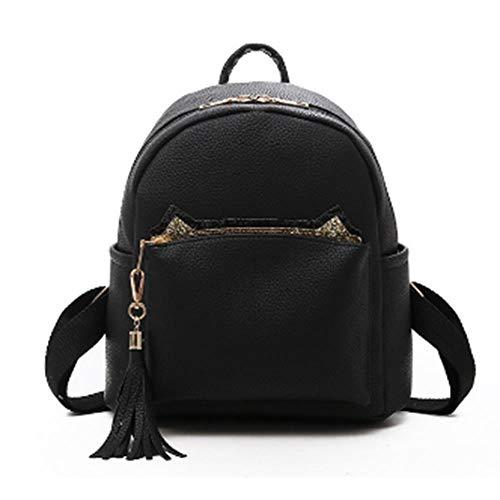 JHDSAUDS Schultasche Solide Pu-Leder Kleine Frauen Rucksack Für Mädchen Einfache Cute Back Pack Female Mochila Bagpack Damen Quaste, Schwarz (Mochila Puma)