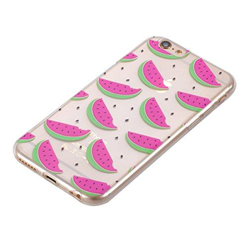 Pour Apple Iphone 6 Plus Case Cover, Ecoway girafe shell téléphone TPU en silicone souple en relief personnalité silicone Housse de Housse pour téléphone portable pour Apple Iphone 6 Plus - girafe melon d'eau