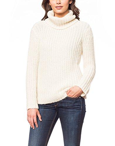 Damen Baby Alpaka Rollkragen Pullover: 100% gebürstetes Alpaka Elfenbein - M (100% Pullover Seide)