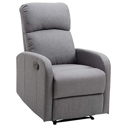 HOMCOM Relaxsessel Liegesessel Couch-Sessel Liegen Neigungswinkel 168 ° leinen Grau L66 x B95 x H99 cm