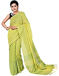 Tanya Yellow And Green Handloom Khadi Saree With Green Stripes On Pallu