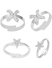925 Sterling Silver Cubic Zirconia Star & X Design Adjustable Toe Ring Set For Women's