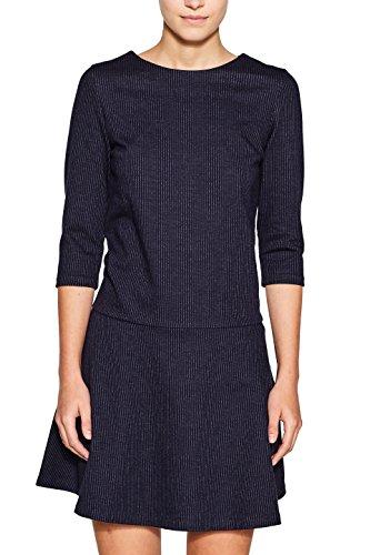 ESPRIT Damen Kleid 107EE1E006 Mehrfarbig (Navy 400), Large (Nadelstreifen-rock Navy)