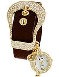 Geneva hebilla CZ watch-brown y dorado