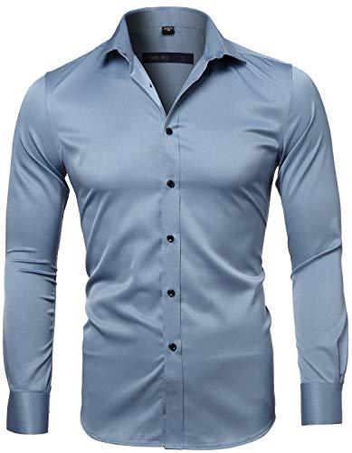 Harrms camicia elastica di bambù fibra per uomo, slim fit, manica lunga casual/formale, blu acqua, 44 (collo 44cm, petto 120cm)