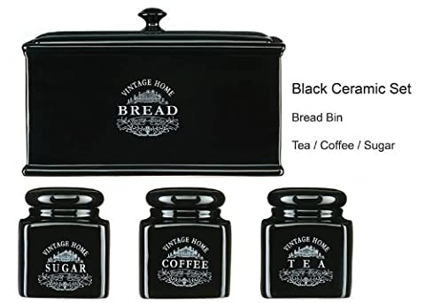Vintage Black Text Durable Ceramic Jars and Bread Bin Set Of 4 Tea, Coffee Sugar And Bread Bin