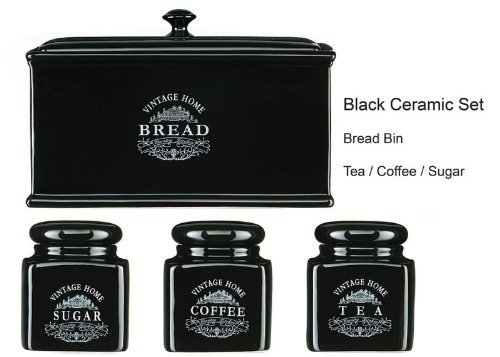 High Quality Ceramic Jars With Outstanding Vintage Black Text Design Tea, Coffee, Sugar And Bread Bin Set