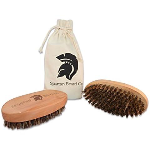 Cepillo de madera para barbas de Spartan Beard Co. – Estuche de aseo personal con cepillo de cerdas de jabalí - El mejor cepillo de barbas para hombre – Ideal para utilizar con aceite, bálsamo o cera para barba - Incluye estuche de algodón.