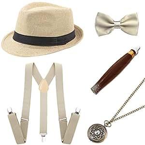 Coucoland 1920s Herren Accessoires Mafia Gatsby Kostüm Set inklusive Panama Gangster Hut Verstellbar Elastisch Hosenträger Herren Halsschleife Fliege Taschenuhr und Plastik Zigarre (Beige)