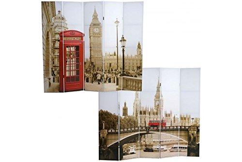 Foto-Paravent 180x200 Vintage Paravent Raumteiler Trennwand London Bilder Holz