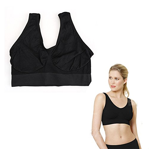 Rrmin Women Seamless Wireless Sports Leisure Bra Shapewear Tops Black Size XL