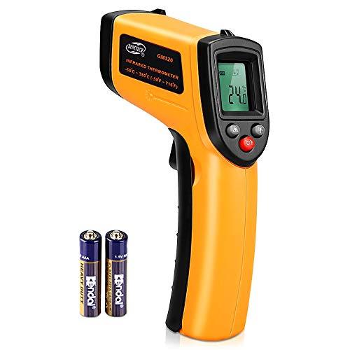 Infrarot Thermometer, mixigoo IR Pyrometer Digital Temperaturmessgerät Berührungslos Temperaturmesser -50℃ ~ 380℃, LCD Beleuchtung, Gelb/Schwarz