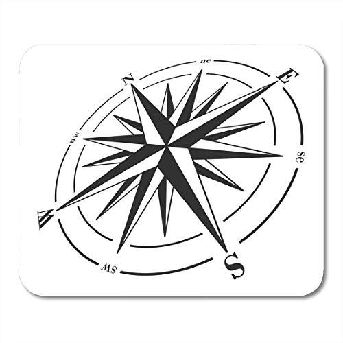 Mauspads Kartografie Black Angle Compass Rose Weiß Raster Pfeilrichtung Mauspad für Notebooks, Desktop-Computer Matten Bürobedarf 10x12 Zoll
