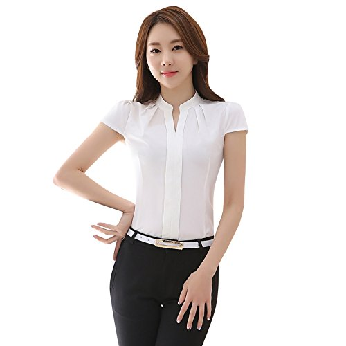 EFINNY Women Office T-Shirt Uniform OL V Neck Blouse Workwear Tops