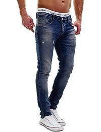 MERISH Jeans Uomo 5-Pocket stile Slim Fit leggermente sbiancato qualcosa sguardo distrutto moderna e casual Modell J2021