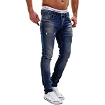 Merish Jeans Stretch Herren Super Slim Fit Destroyed Used-Look Dark Blue Neu J2021