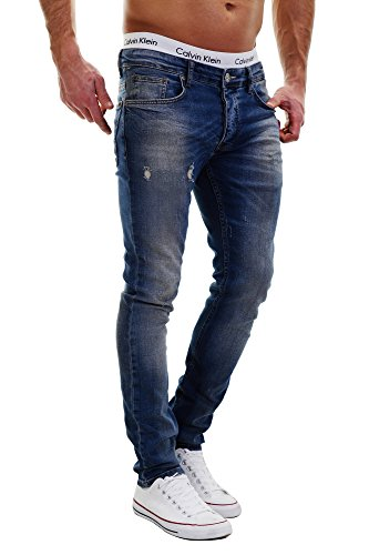 Merish Jeans Herren Used-Look Destroyed Neu Blau Hose Chino Pants Slim J2022 29W x 32L Blau