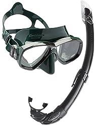 Cressi Perla Mare - Set para snorkeling Mascara e Tubo, fabricado en Italia, color verde/negro