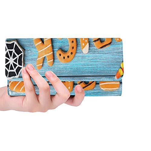 Einzigartige frische Halloween-Lebkuchen-Plätzchen auf Blauer Frauen-dreifachgefalteter Geldbörsen-Langer Geldbeutel-Kreditkarteninhaber-Fall-Handtasche