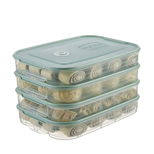 J+N NJ Aufbewahrungsbox- Schnellgefrorene Aufbewahrungsbox für Haushaltsknödel, Küche Kühlschrank Ei Aufbewahrungsbox (Farbe : Matcha Green, größe : L30xW21.5XH18cm)