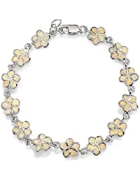 Bling Jewelry Blume Synthetische weiß Opal Inlay Armband 925 Silber 7.5In