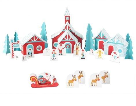 bogen Weihnachtliches Dorf 13 Figuren, 4 Häuser, 5 extra Elemente - Pukcaka DIY Bastelbögen Papier-Karton für Kindergeburtstag als Geschenkidee, Bastelidee für Jungs und Mädchen ()