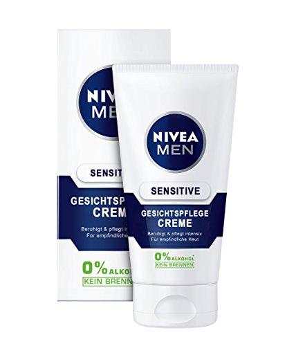 NIVEA Men, 6er Pack Gesichtspflege Creme für Männer, 6 x 75 ml Tube, Sensitive, 0% Alkohol