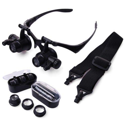 JVJ Eye/occhiali tipo LED Lente d'ingrandimento Magnifier Loupe + 4