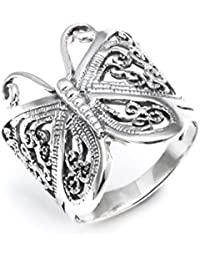 Silverly Women's .925 Sterling Silver Filigree Butterfly 22.7mm Thumb Ring