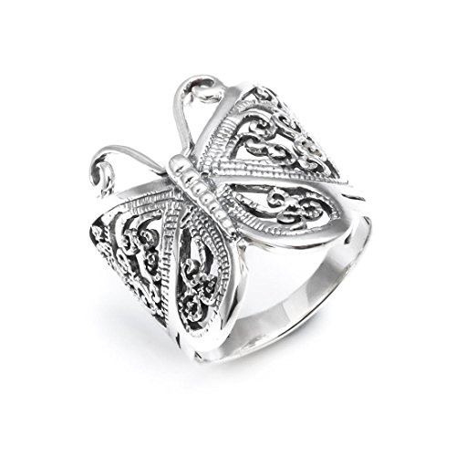 Silverly Anillo Grande Mujer Plata Ley.925 Mariposa