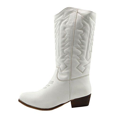 2862b94eddef2 ... Donna A Metà Polpaccio Blocco Tacco A Cavallo Cowboy Biker Boots Zip Up  Scarpe White- ...
