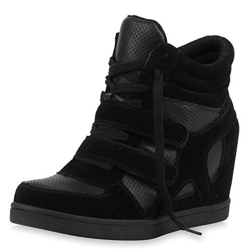 SCARPE VITA Sportliche Damen Basic Sneaker-Wedges Bequeme Sneakers Keilabsatz 160573 Schwarz 39