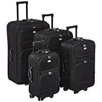 New Travel BR1001 / 4P Luggage Sets, Black, 88 BR1001 BLK