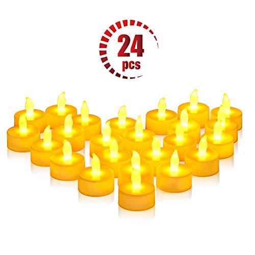 OMORC ❆LED Teelicht Kerzen 24 Kerzen elektrisch groß, Weihnachtsbaumschmuck Teelichter-Kerzen für Ostern, Party, Bar, Hochzeit, Festival, Innen/Außen Deko [A-Warm Gelb; Flammenlos; Batterien]