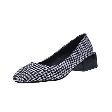 Rtry Femmes Talons Formelles Chaussures Confort Tissu Chute Vêtements  Casual Marche Plaid Bas Talon Noir Café