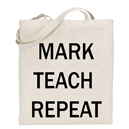Teach Repeat Tasche, Lehrergeschenk, Dankeschön, Buchtasche, Lehrertasche, schwarzer Text, Shopper ()