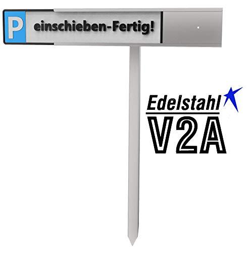 reinkedesign Parkplatz Schilder- Halterung aus Edelstahl für KFZ- Schilder BZW. Kennzeichen mit Pfosten zum einschlagen oder betonieren. Schildmontage werkzeuglos durch einschieben! (mit Pfosten)