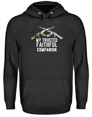 SPIRITSHIRTSHOP My Trusted Faithful Companion - Soldat, Gewehr, Waffe, Waffen, Mann, Männer, Jungen, Boys - Unisex Kapuzenpullover Hoodie -XXL-Jet Schwarz -