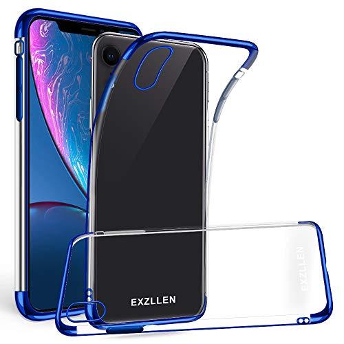 EXZLLEN iPhone XR Hülle, Ultra Dünn 0.2MM iPhone XR Case Crystal Clear Transparente Soft TPU Silikon Kratzfeste Schale Schlank Kristall Galvanisiert hülle Schutzhülle (Blau)