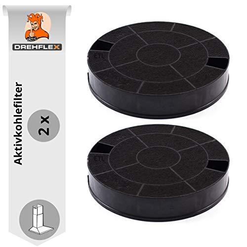 DREHFLEX AK31, 2 Aktivkohlefilter für Dunstabzugshaube, passend für Whirlpool 481249038013 & weitere, Maße ca. 193mm