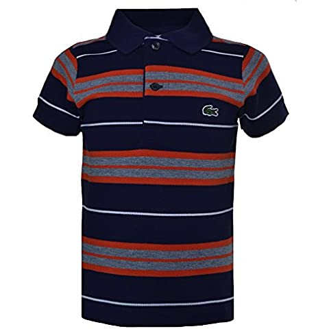 Lacoste Kids Navy Blue Striped Short Sleeve Polo Shirt