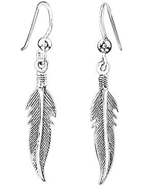 MATERIA Damen Ohrhänger Feder 925 Sterling Silber antik geschwärzt 39mm #SO-122