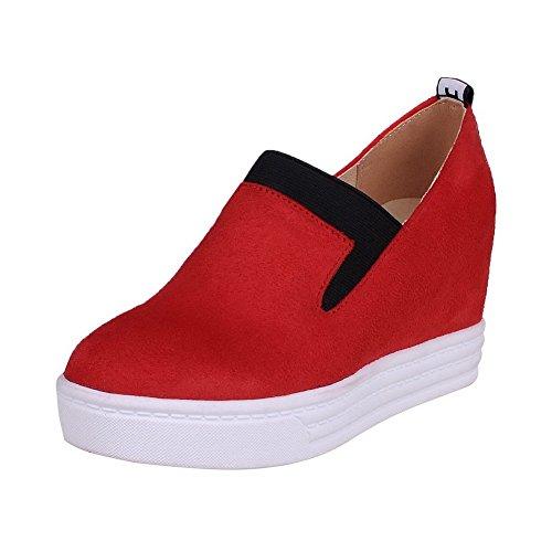 AllhqFashion Femme Tire à Talon Haut Suédé Couleurs Mélangées Rond Chaussures Légeres Rouge