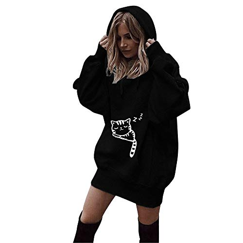 JURTEE Damen Winter 2019 Frauen Katzen Druck Kleidung Hoodies Pullover Mantel Hoody Sweatshirt (Halloween-kostüme College Kreative)
