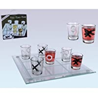 Out-of-the-blue-793985-Glas-Trinkspiel-Tic-Tac-Toe-mit-9-Glsern-circa-22-x-22-cm