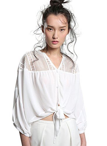 ACHICGIRL Women's V Neck 3/4 Sleeve Button down Shirt white